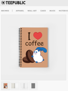hisame artwork Ernest the blue bunny merchandise notebook I love cofffee
