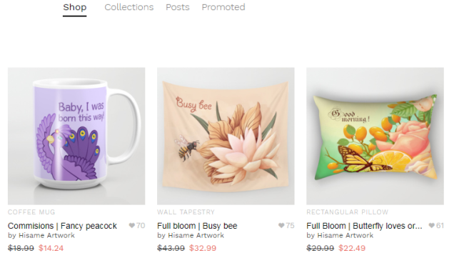 Hisame Artwork Society6 shop discounts